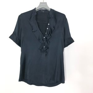 THEORY SILK EXCELLENT CONDITION SIZE S BLACK SHIRT